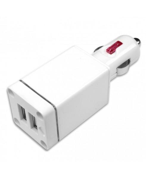 10-Watt Dual USB Car Adapter with LED Flashlight - White