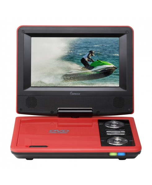 7 Inch Swivel Portable DVD Player, Red