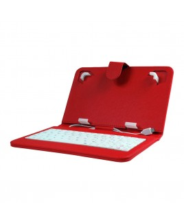 Mini Keyboard Case & Stand For 7 Inch Tablets - Red