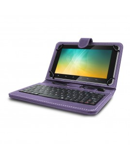 Universal Mini Keyboard Case & Stand For 8 Inch Tablets - Purple