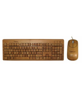 Full Bamboo Custom Carved Designer Keyboard and Mouse Combo
