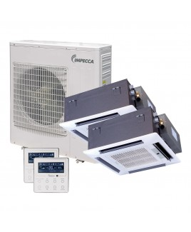 Flex Series Two Ceiling Cassette Indoor Ductless Split Units, and 39,000 BTU Outdoor Unit with Inverter Technology
