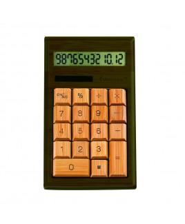CB1203 12-Digits Bamboo Custom Carved Desktop Calculator - Walnut Color