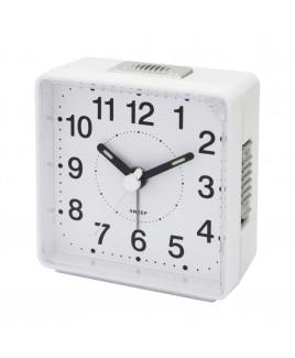 Travel Alarm Clock, Sweep Movement, White