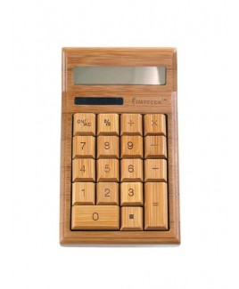 12-Digit Bamboo Custom Carved Desktop Calculator - Natural Bamboo