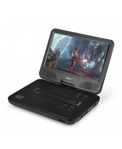 DVP-1017 10.1in 270° Swivel Screen Portable DVD Player, Black