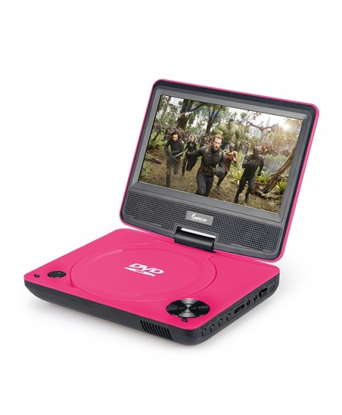 DVP-772 7in 270° Swivel Screen Portable DVD Player, Pink