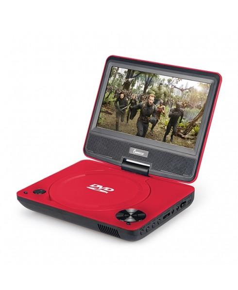 DVP-772 7in 270° Swivel Screen Portable DVD Player, Red