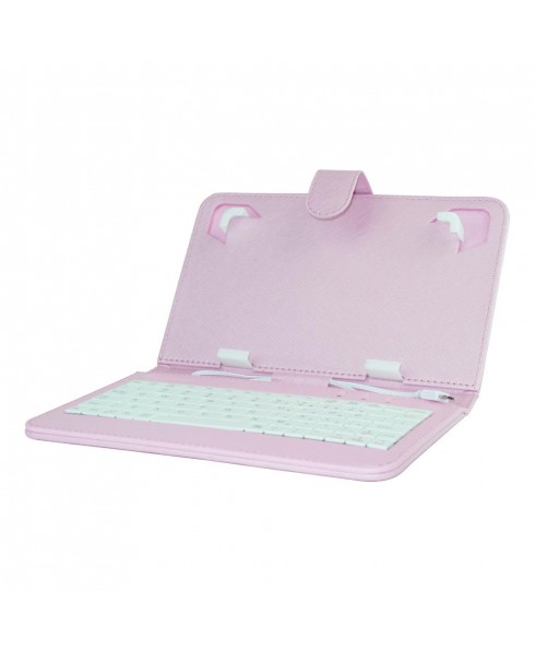 Mini Keyboard Case & Stand For 7 Inch Tablets - Pink