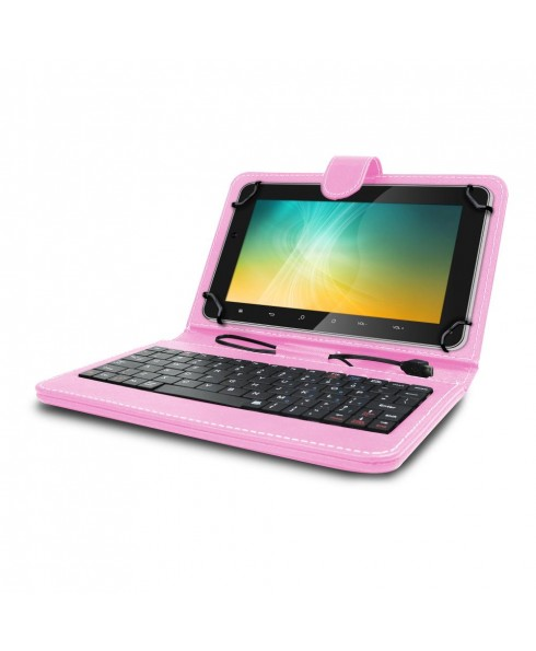 Universal Mini Keyboard Case & Stand For 8 Inch Tablets - Pink