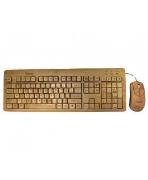 KBB500c Full Bamboo Custom Carved Designer Keyboard and Mouse Combo
