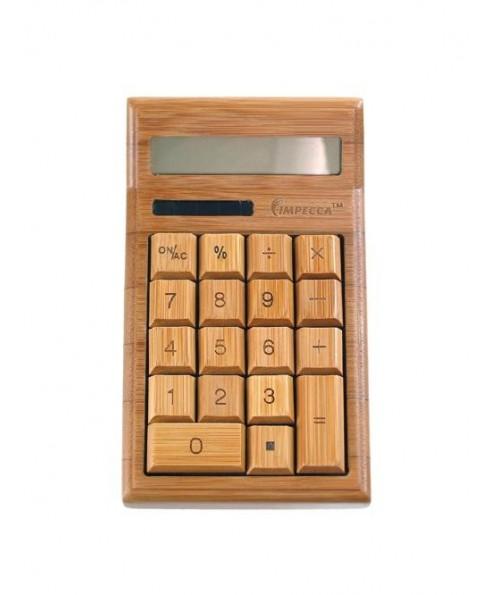 12-Digit Bamboo Custom Carved Desktop Calculator, Natural Bamboo