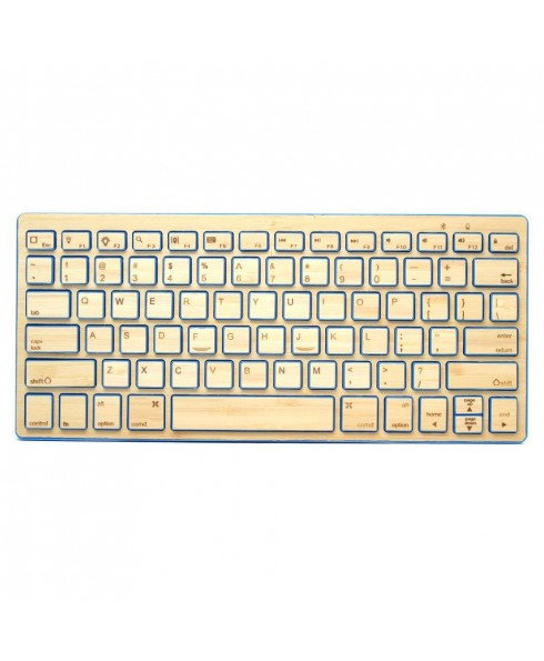 Compact Bluetooth Wireless Bamboo Keyboard, Blue