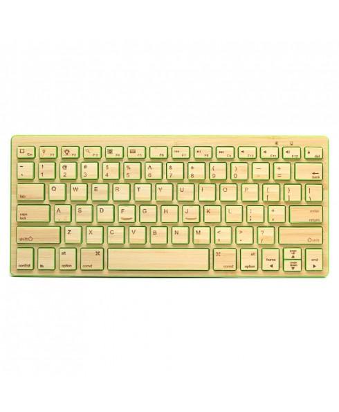 Compact Bluetooth Wireless Bamboo Keyboard, Green