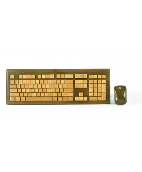 Wireless Hand-Carved Designer Bamboo Keyboard - Walnut Color