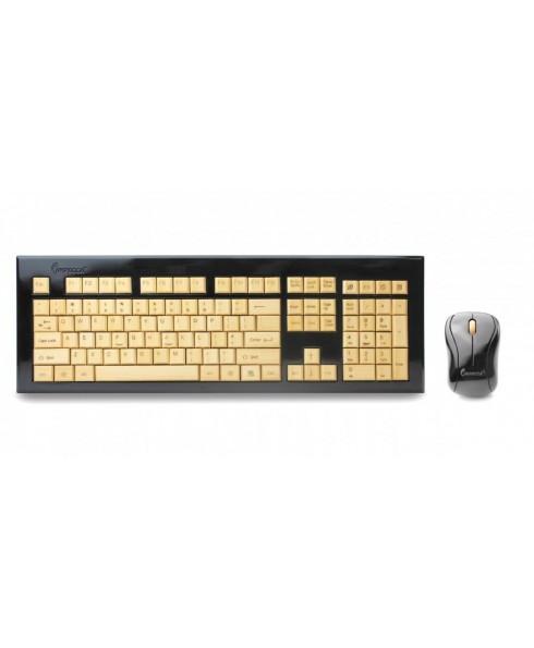 Wireless Hand-Carved Designer Bamboo Keyboard - Ebony/Ivy
