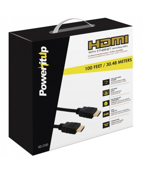 Power-It-Up HD-2100 100ft. HDMI v2.0 Cable with Ethernet