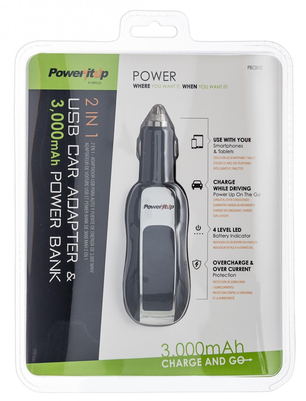 Poweritup 2 In 1 Usb Car Adapter 3000 Mah Power Bank Powerbank Portable Fan