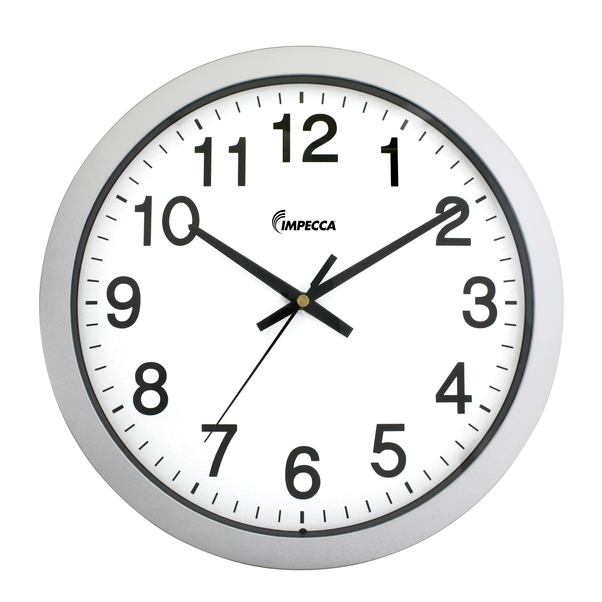 14 Inch Sweep Movement Wall Clock Silver Frame