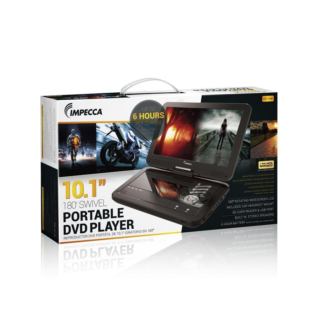 Portable DVD Player with 10 1 inch Swivel Screen - Jetblack Glaze