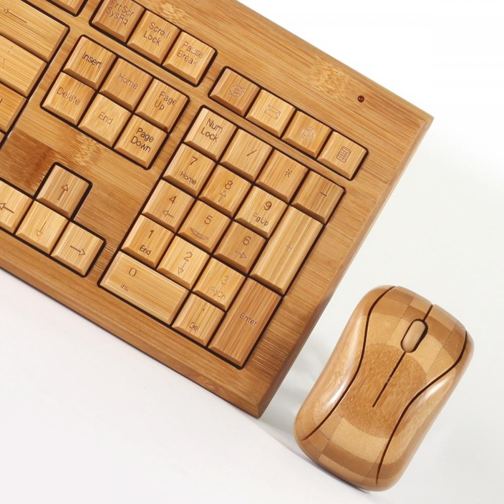 8e6267c583a Hand-Carved Designer Bamboo Wireless Keyboard and Mouse Combo