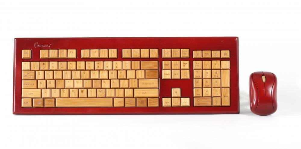 f62922f1dcf Wireless Hand-Carved Designer Bamboo Keyboard - Mahogany Color