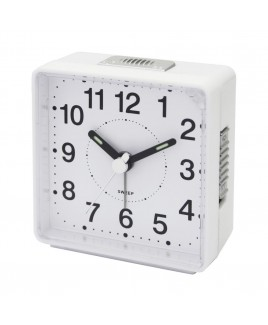 Travel Alarm Clock, Sweep Movement, White