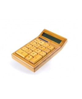 12-Digit Bamboo Custom Carved Desktop Calculator - Natural Bamboo