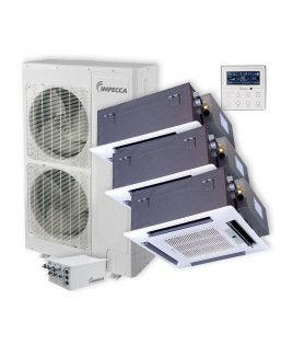 Flex Series 3 Ceiling Cassette Indoor Ductless Split Units, and 52,900 BTU Outdoor Unit with Inverter Technology