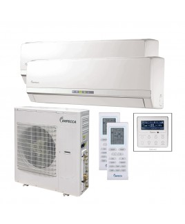 Flex Series Two Wall-Mounted Indoor Ductless Split Units, and 39,000 BTU Outdoor Unit with Inverter Technology