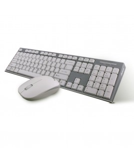 Wireless Multimedia Keyboard and Mouse Combo, White