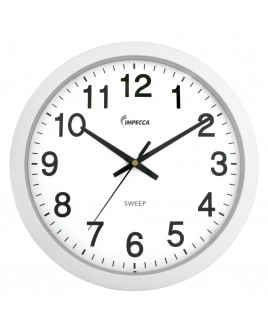 14 Inch Sweep Movement Wall Clock, White Frame