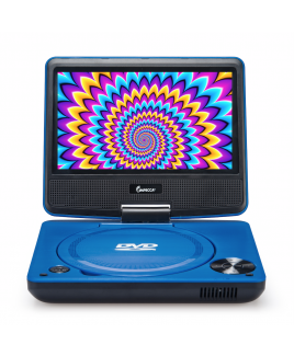 DVP-772 7in 270° Swivel Screen Portable DVD Player, Blue