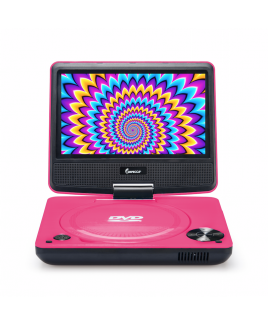 DVP-772 7in 270° Swivel Screen Portable DVD Player, Pink