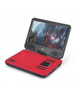 DVP-1017 10.1in 270° Swivel Screen Portable DVD Player, Red
