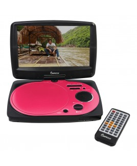 9 Inch Swivel Portable DVD Player, Pink