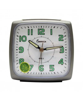 Bell Alarm Clock, Metallic Grey