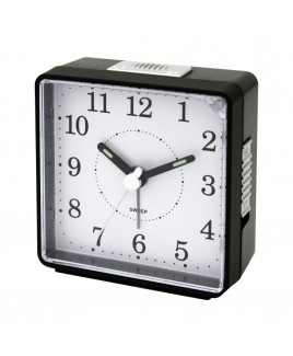 Travel Alarm Clock, Sweep Movement, Black