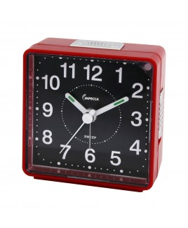 Travel Alarm Clock, Sweep Movement, Red