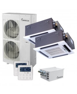 Flex Series Two Ceiling Cassette Indoor Ductless Split Units, and 52,900 BTU Outdoor Unit with Inverter Technology