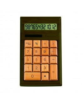 CB1203 12-Digits Bamboo Custom Carved Desktop Calculator - Walnut Color
