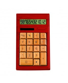 CB1204 12-Digits Bamboo Custom Carved Desktop Calculator - Mahogany Color