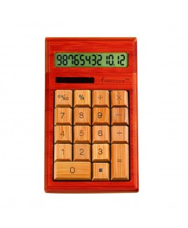 12-Digits Bamboo Custom Carved Desktop Calculator, Cherry Color