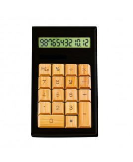 12-Digits Bamboo Custom Carved Desktop Calculator, Black/Ivy