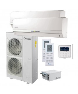 Flex+ Series Two Wall-Mounted Indoor Ductless Split Units, and 53,000 BTU Outdoor Unit with Inverter Technology