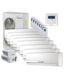 Flex Series 8 Wall-Mounted Indoor Ductless Split Units, and 52,900 BTU Outdoor Unit with Inverter Technology