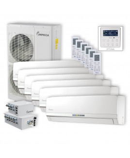 Flex Series 6 Wall-Mounted Indoor Ductless Split Units, and 52,900 BTU Outdoor Unit with Inverter Technology