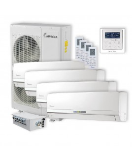 Flex Series 4 Wall-Mounted Indoor Ductless Split Units, and 52,900 BTU Outdoor Unit with Inverter Technology