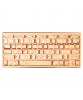 Compact Bluetooth Wireless Bamboo Keyboard, Orange