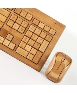 Hand-Carved Designer Bamboo Wireless Keyboard and Mouse Combo